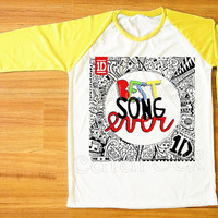 Best Song Ever T-Shirt One Direction T-Shirt 1D Shirt Yellow Sleeve Tee Shirt Women T-Shirt Men T-Shirt Raglan Shirt Baseball T-Shirt S,M,L