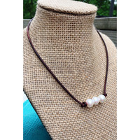 FREE SHIPPING on Pearl Leather Necklaces. Three High Grade Freshwater Pearls on Leather Cord Necklace