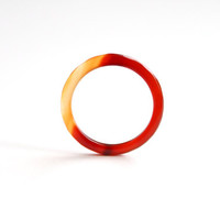 Natural Fire Red and Orange Color Agate Band Ring 2mm. Stackable Gemstone Ring. Faceted Agate Ring. Natural Healing Agate Ring.