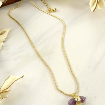 Lila Amethyst Stone Necklace