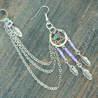 ONE purple dreamcatcher chained ear cuff turquoise and amethyst cross cuff in boho gypsy hippie hipster native american and tribal style