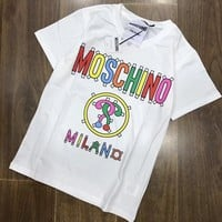 Moschino Multicolor Letter Prints Round Collar Short Sleeve T-Shirt