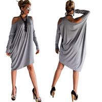 Grey Off Shoulder Long Sleev Loose Dress