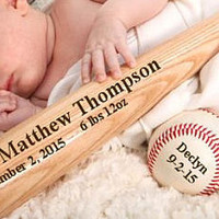 Personalized Wood Baseball Bat Birth Announcement Baby Boy Gift Keepsake Sports New Born Baby Gift