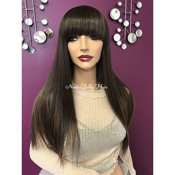 Brown balayage full wig| large flowy bangs | Soft blended human hair| #11841* I Will Survive