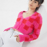 Lazy Oaf Fuzzy Checkerboard Cardigan | Urban Outfitters
