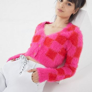 Lazy Oaf Fuzzy Checkerboard Cardigan   Urban Outfitters