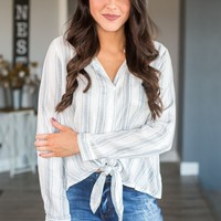 Striped Button Up- White/Blue
