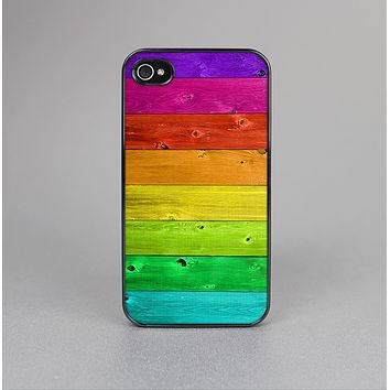 The Rainbow Highlighted Wooden Planks Skin-Sert Case for the Apple iPhone 4-4s