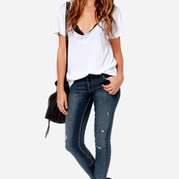 Queen Bee Distressed Medium Wash Ankle Skinny Jeans
