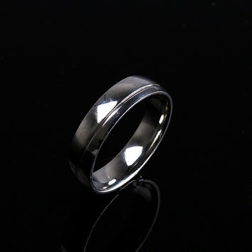 1PC Hot Geometric Black Silver Color Titanium Steel Solid Ring For Women Men Jewelry Party Wedding Engagement Ring Xmas Gift