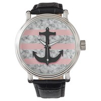 Marble Pink Stripes Nautical Anchor Watches