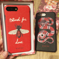 GUCCI BEE Snake Embroidery iPhone wrist band Phone Cover Case For iphone 6 6s 6plus 6s-plus 7 7plus