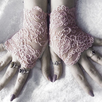 Lyric Lace Fingerless Glove Mittens - Dusty Mauve Rose Pink Floral - Victorian Wedding Bridal Mori Girl Belly Dance Goth Bohemian Gothic