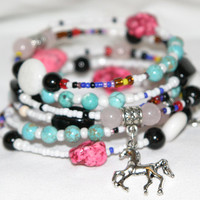 Memory Wire, Sundance Jewelry,Turquoise,Pink, Blue Turquoise Beads, Bracelet,Boho, Southwest, Country western, Country Rock