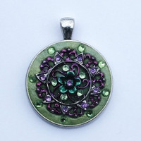 Sale Green Swarovski Crystals in Green Crystal Clay with Purple and Green Metal Work in the Center