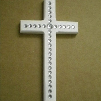 "BLING WALL CROSS - Handpainted Wood Cross w/ clear rhinestones and glitter paint - 8"" x 4.5"""