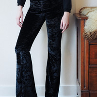 Hells Bells - Black velvet bell bottom wide leg leggings
