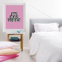 """Motivational Poster """"No Bad Vibes"""" Minimalist Poster Art, Typography Quote, Print, Wall Decor Art, Mottos, Inspirational, Funny Quote."""