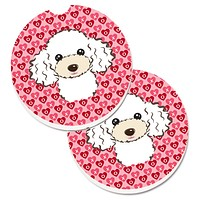 White Poodle Hearts Set of 2 Cup Holder Car Coasters BB5327CARC