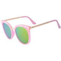 Pink Frame Cat Eye Mirror Sunglasses