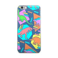 Old School Dinosaur Cartoons Kids Table Blue Green Yellow Orange & Pink iPhone 4 4s 5 5s 5C 6 6s 6 Plus 6s Plus 7 & 7 Plus Case