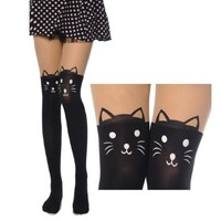 NSSTAR Fashion Sexy Knee High Length Socks Cute Cat Skull Eiffel Tower Spider Cross Loving Heart Stars Rose Bowknot Dual Color Tattoo Socks Sheer Pantyhose Tights Stockings (two cat)