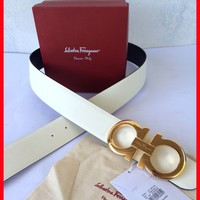 NEW Salvatore Ferragamo Reversible White and Black Belt Gold Buckle 100/40 34-36
