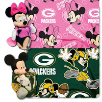 Green Bay Packers NFL Mickey and Minnie Mouse Throw Combo