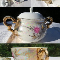 Vintage Tea Set Coffee Service Hand Painted Lusterware with Roses and Gold Trim