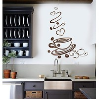 Wall Vinyl Decal Coffee Shop Cup Kitchen Art Decoration Stickers Unique Gift (ig3084)