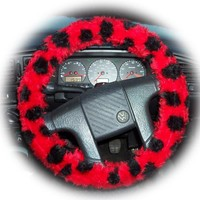 Red and black ladybird spot fuzzy faux fur car steering wheel cover
