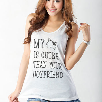 My cat is cuter than your boy friend Tank Top Women Cat Shirt Tank Top Girls Yoga Racerback Funny Workout Fitness Hipster Fashion Sassy