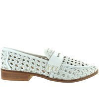 Musse & Cloud Melby - White Leather Laser-Cut  Embossed Woven Loafer