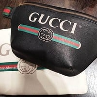 Gucci sells male and female letters printed Wais tbag zipper straddle bag