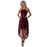 Hot sale Womens Sleeveless Formal Prom Party pure color Wedding Ball Gown elegant Dress Ladies harness lace irregular dresses
