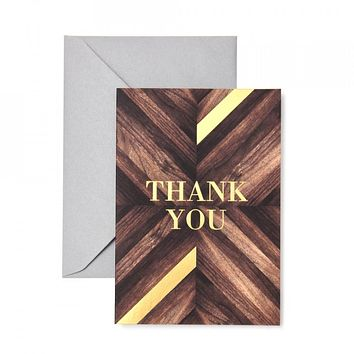 Wood Grain and Gold Foil Thank You Cards - 15 Ct.