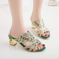 Shining Hollow Out Gold Heel Crystal Shoes Slides Women Sandals 4628