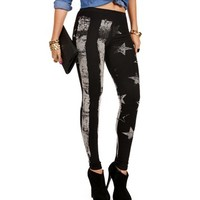 Black/White Stripes And Stars Leggings