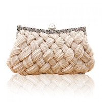 Wedding Weaving and Pure Color Design Women's Evening Bag