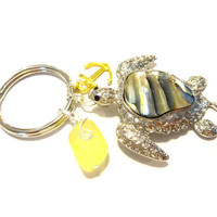 Lemon Yellow Sea Glass Keychain, Mothers Day Gift, Sea Turtle Key Chain, Abalone Shell Keychain, Gold Anchor Beach Accessory, For the Beach