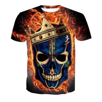 Short Sleeve Skull Printed T-Shirt