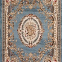 2117 Blue Aubusson Traditional Area Rugs