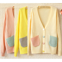 Candy -Colored V-Neck Long-Sleeved Sweater JCEF