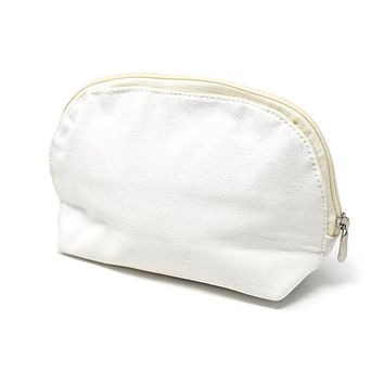 Oval Cotton Muslin Cosmetic Makeup Bag, 5-1/2-Inch