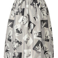 Gray Woman Printed Midi Skirt