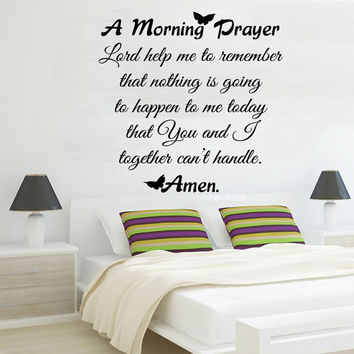 Family Wall Decal Quote Morning Prayer Art Murals Lord Help Me To Remember Vinyl Sticker Bedroom Decor Dorm Living Room Design Interior KI73