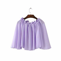 Women sweet off shoulder pleated chiffon crop tops sexy slash neck loose shirt three quarter sleeve summer fashion blusas