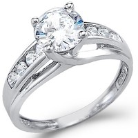 Solid 925 Sterling Silver Solitaire Round CZ Cubic Zirconia Engagement Ring 1.5ct