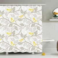 Birds on a Branch Fabric Shower Curtain